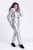 """Теплый женский дутый комбинезон """"SILVER/GOLD"""" с капюшоном и карманами (большие размеры), фото 2"""