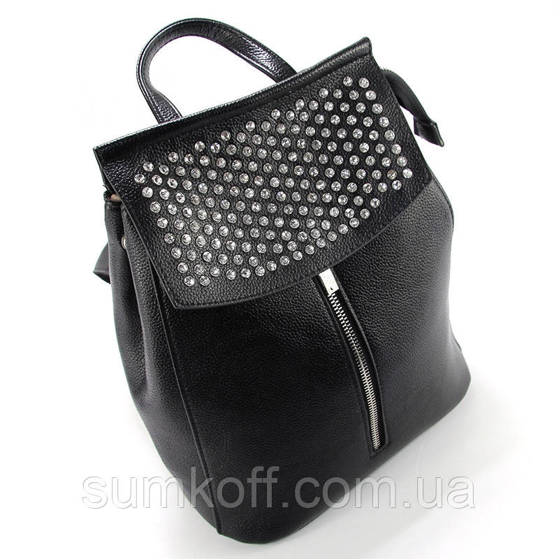 c3f4c16ff6c8 Женская сумка-рюкзак Valensiy черный трансформер со стразами - Интернет  магазин сумок SUMKOFF - женские
