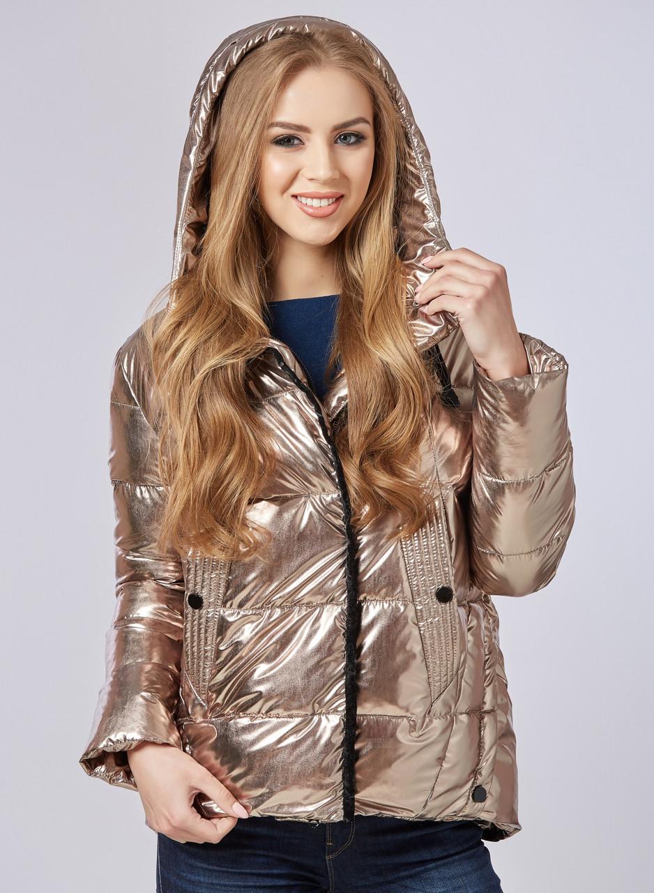 Куртка хамелеон демисезонная женская стильная на молнии золото