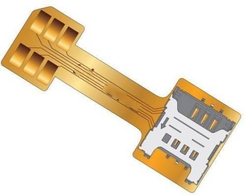 Шлейф адаптер на 2 Nano SIM + MicroSD в комбинированый лоток Double Dual SIM Card & Micro SD Adapter, фото 1
