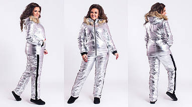 """Теплый женский дутый костюм """"SILVER"""" с капюшоном и карманами (большие размеры), фото 3"""
