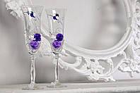 Свадебные бокалы с бисером и жемчугом №103