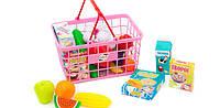Игрушечный супермаркет , магазин , набор продуктов в корзине ( цвета корзины разные)