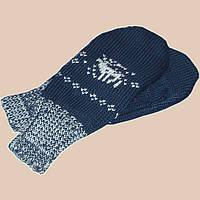 """Вязаные зимние варежки с норвежским орнаментом """"олени"""""""