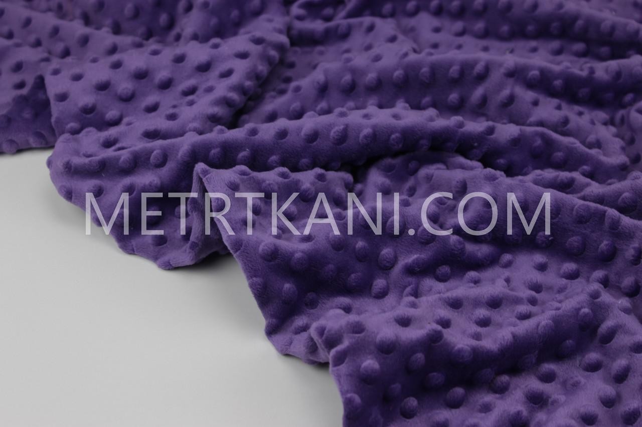 Плюш Minky фіолетового кольору 380 г/м2 № м-25