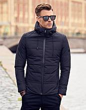 Мужская черная демисезонная куртка с капюшоном