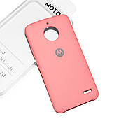Cиликоновый чехол на Moto E4 Soft-touch Pink