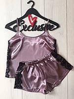 Пижама Exclusive атласная майка и шорты, фото 1