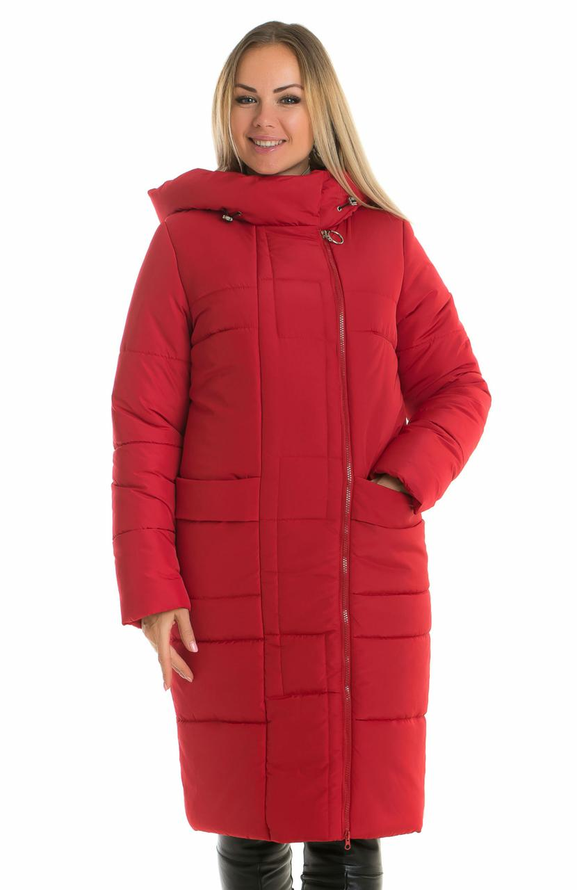 Красная зимняя куртка женская