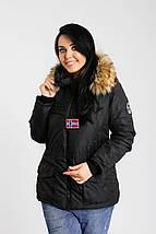 """Теплая женская куртка на овчине """"Napapijri"""" с капюшоном (большие размеры), фото 3"""