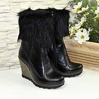 Ботинки кожаные женские зимние на высокой устойчивой платформе. 36 размер