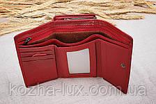 Кошелек красный женский, натуральная кожа, качественный, фото 3