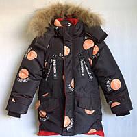 """Куртка зимняя """"Feiying"""" #BF-801 для мальчиков. 8-9-10-11-12 лет (128-152 см). Оранжевый принт. Китай. Оптом, фото 1"""