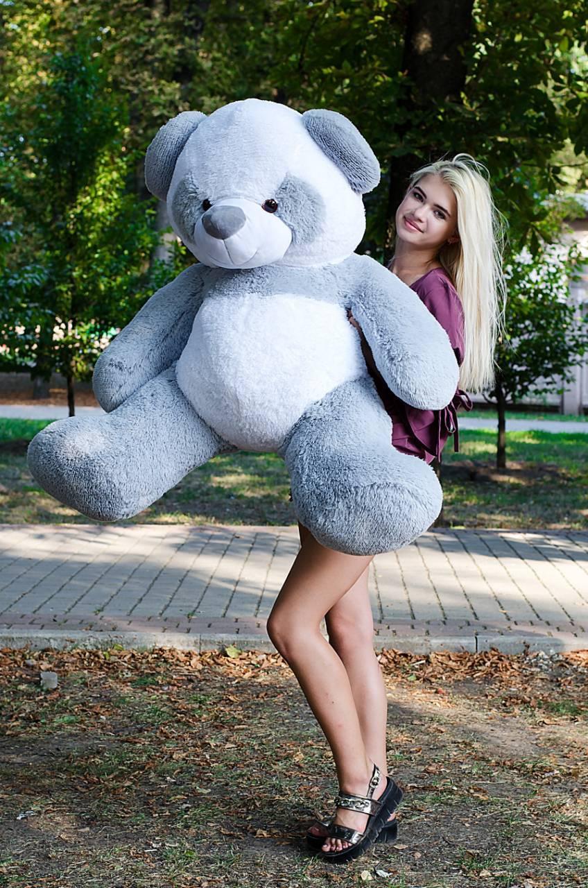 Большой плюшевый медведь Панда Украина 140см. серый (плюшевый мишка, м