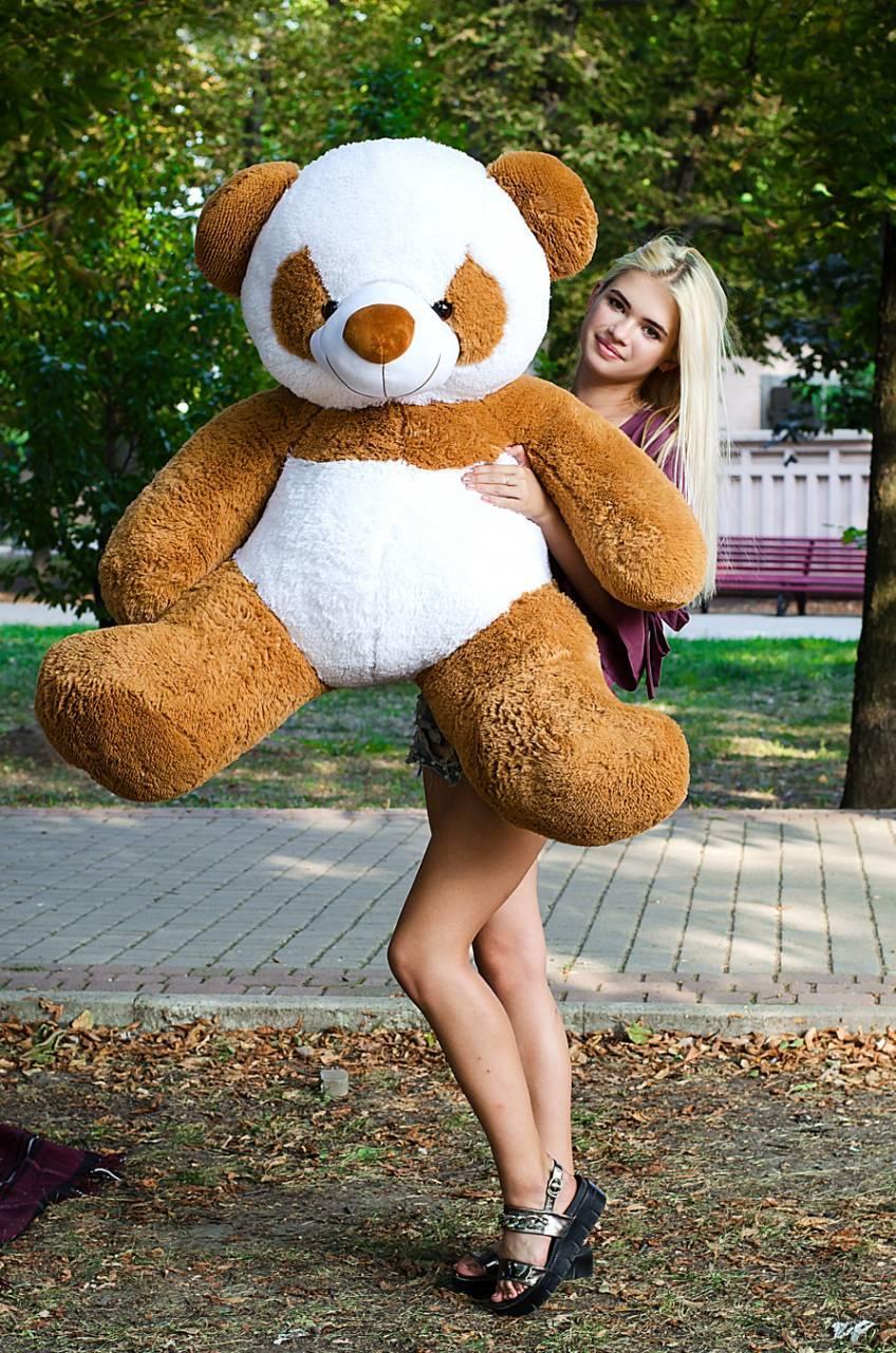 Большой плюшевый медведь Панда 140см. коричневая (плюшевый мишка, мягк