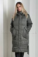 Зимний пуховик Mishele 077 с накладными карманами цвета хаки, фото 1