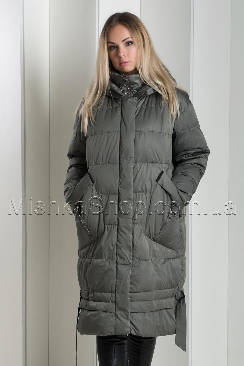 Зимний пуховик Mishele 077 с накладными карманами цвета хаки