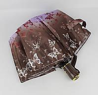 Женский складной зонт полуавтомат Universal 539-5 коричневый, принт бабочки