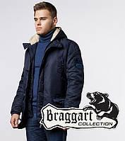 Мужская куртка с мехом в капюшоне Braggart 34568 темно-синий