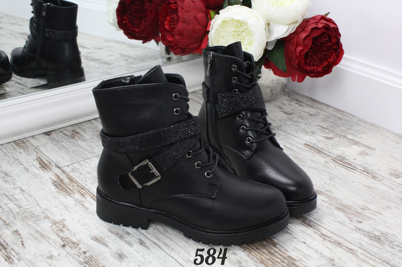 Ботинки с ремешками со стразами на меху 584 (ТМ)