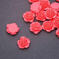 Кабошон Роза лососевая акрил d-18мм фас.17 шт.