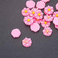 Кабошон Ромашка розовая акрил d-12мм фас.22шт.