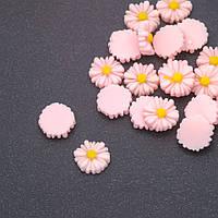 Кабошон Ромашка светло-розовая акрил d-12мм фас.22шт.