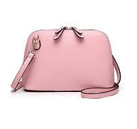 Женская наплечная кожаная сумка Namvitae розовая