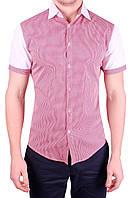 Рубашка мужская хлопковая в клетку M, Красный