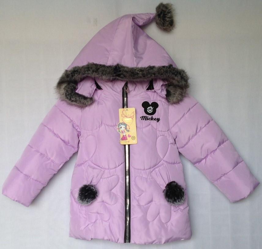 """Куртка зимняя """"Tengyun"""" #K-456 для девочек. 1-2-3-4 года (86-104 см). Сиреневая. Китай. Оптом"""