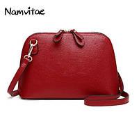 Женская наплечная кожаная сумка Namvitae красная