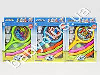 Набор спортивный, 2 ракетки, шарик, 2 воланчика, обруч, 3 вида, в кор-ке