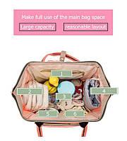 Сумка-рюкзак органайзер для мам. Персиковый.