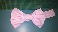 Бант на выписку белый горошек на розовом