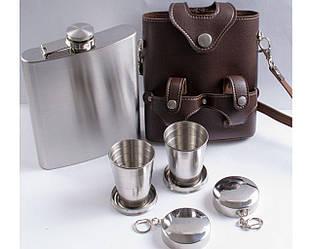 Подарочный набор Фляга в кожаном чехле + раздвижные стаканы.