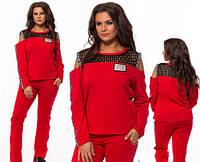 Спортивный костюм большого размера лампасы красный 824202