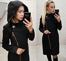Пальто арт. 136 с капюшоном черное