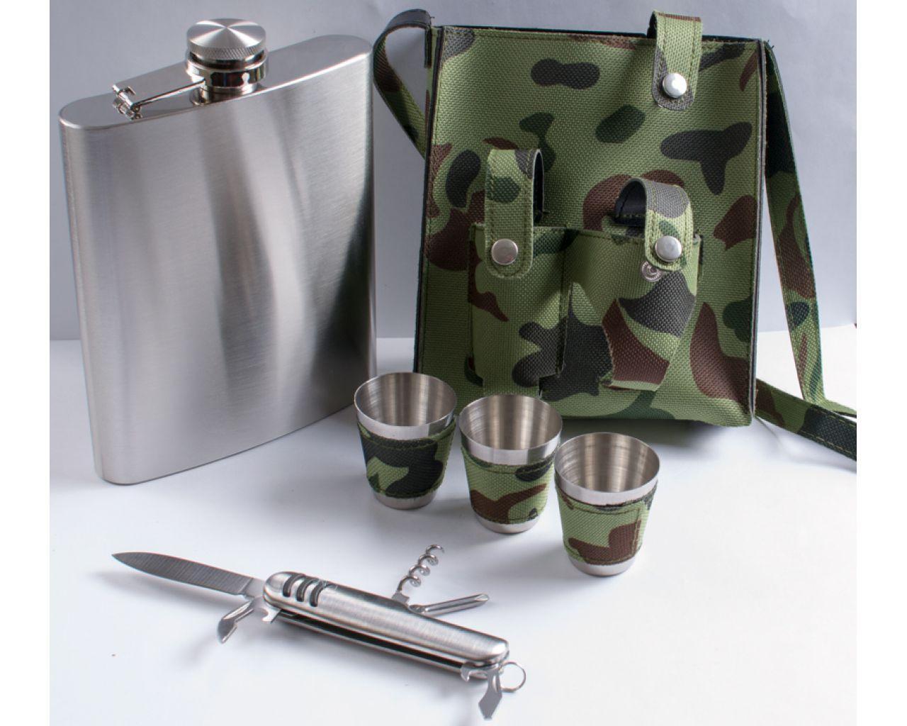 Подарочный набор Фляга в камуфляжном чехле + рюмки.