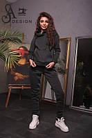 Спортивный женский костюм ткань трехнитка темно-серый, фото 1