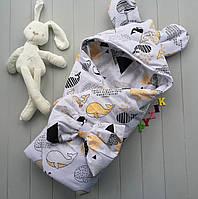 Конверт-одеяло с капюшоном и ушками, на синтепоне, Киты желтые, фото 1