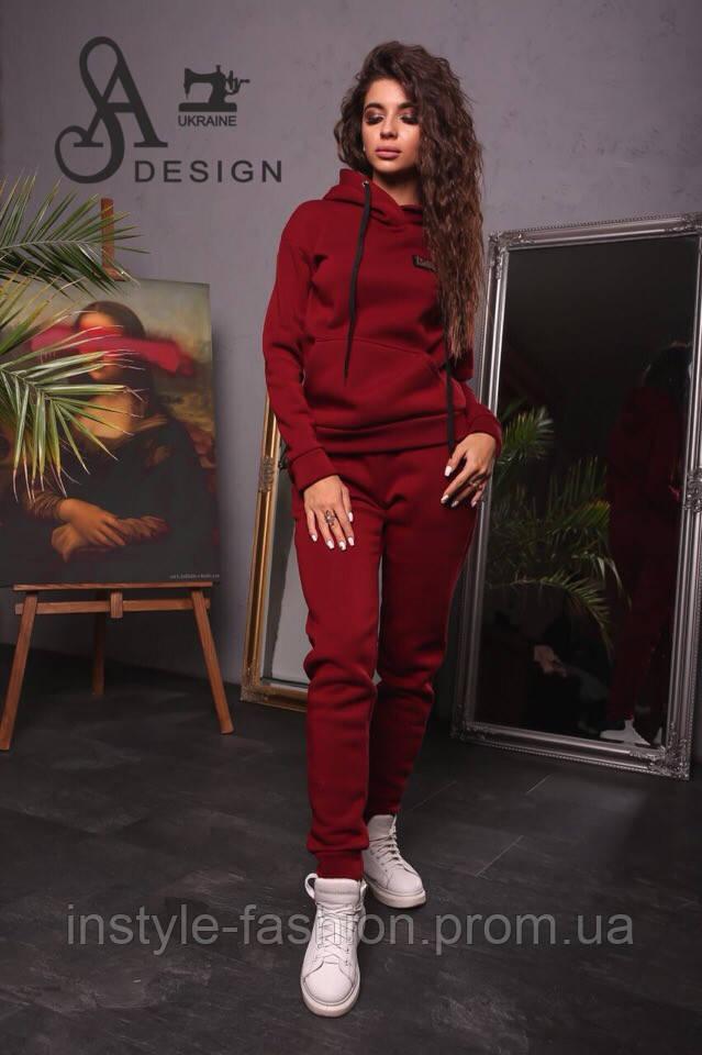 Спортивный женский костюм ткань трехнитка бордовый