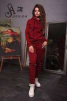 Спортивный женский костюм ткань трехнитка бордовый, фото 1