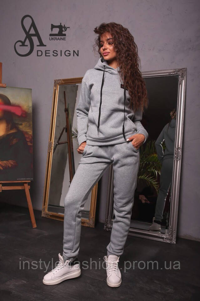 Спортивный женский костюм ткань трехнитка серый