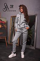 Спортивный женский костюм ткань трехнитка серый, фото 1
