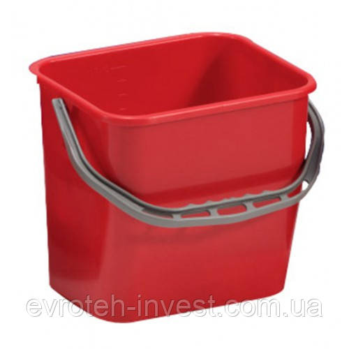 Ведро уборочное из ударопрочного пластика 12 литров красное