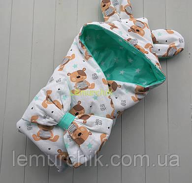 Конверт-одеяло с капюшоном и ушками, на синтепоне, Мишки бирюзовый