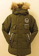 Куртка зимняя длинная цвет зеленый для мальчика размер 116 (на 6 лет)