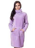 Платье женское флисовое теплое фиолетовое
