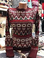 Теплый свитер женский шерстяной без горла,бордовый.Производство Турция.