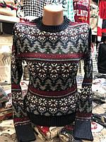 Теплый свитер женский шерстяной без горла,синий. Производство Турция.